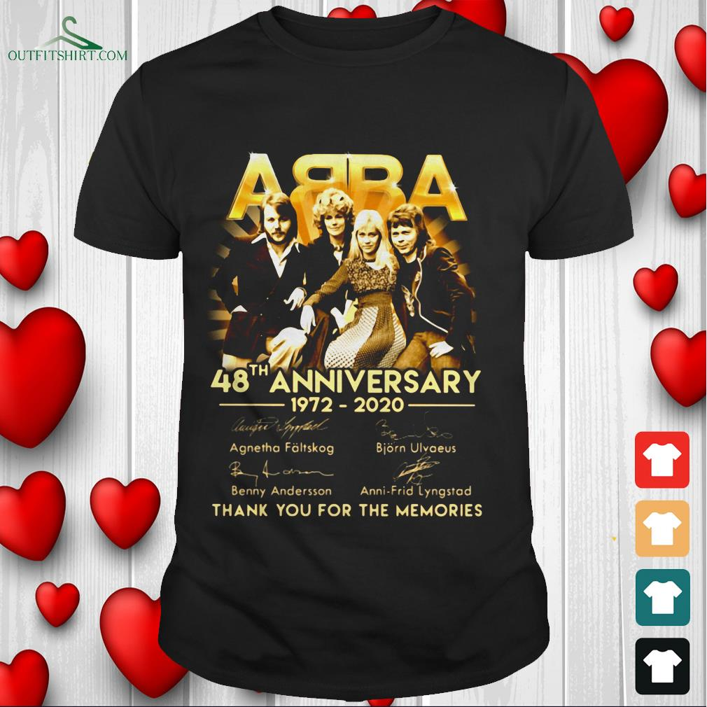 abba 48th the anniversary thank you for the memories t shirt