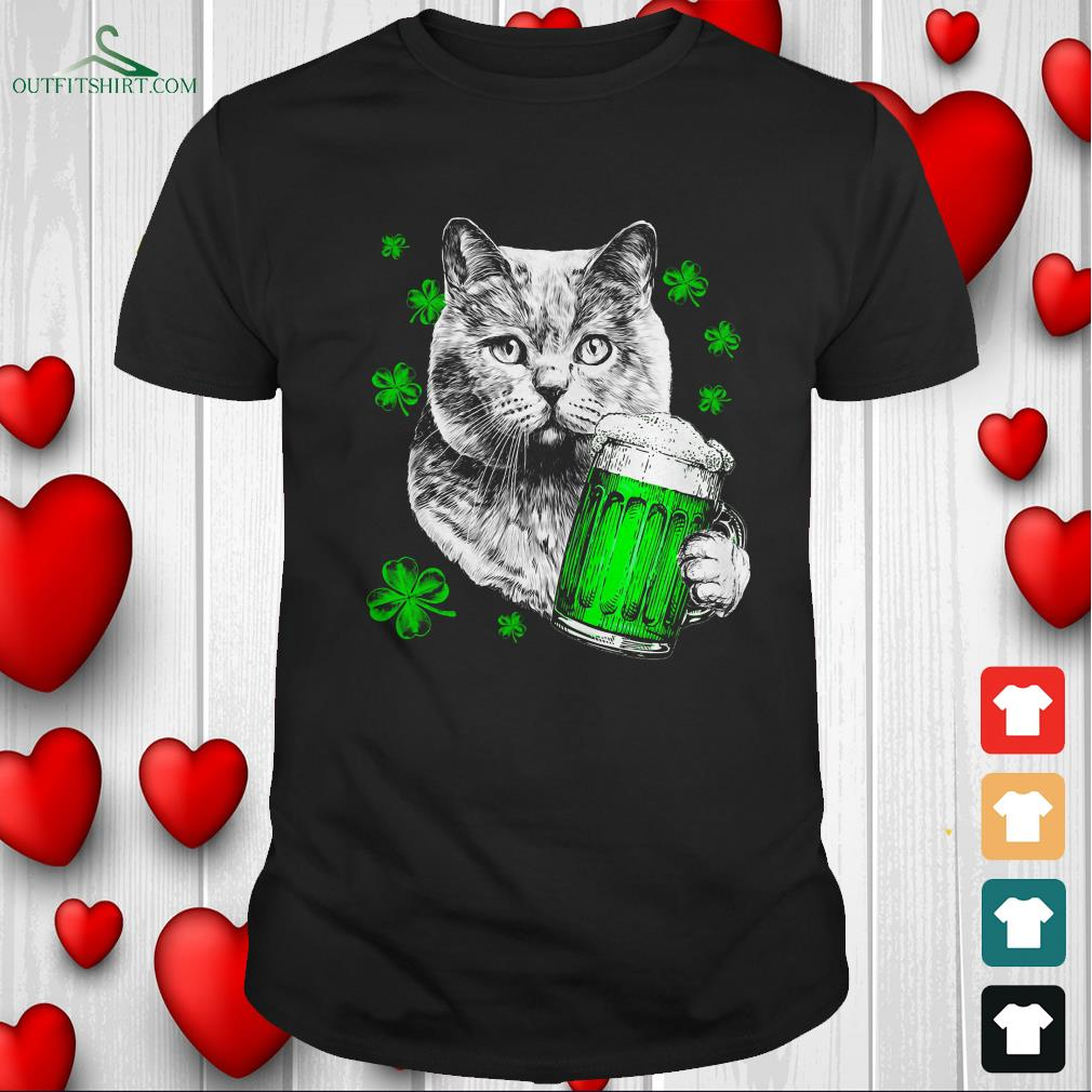 cat with beer t shirt