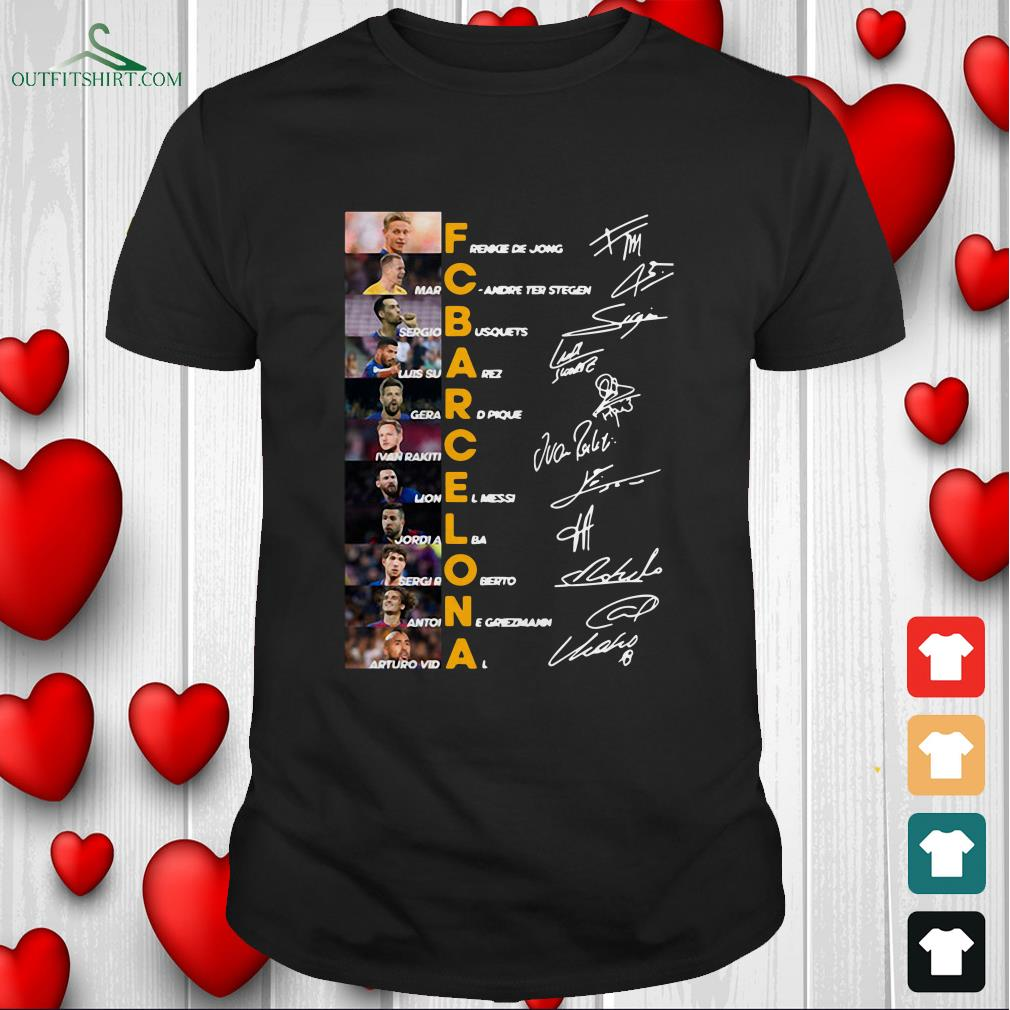f c barcelona team signature legends thank you for the memories t shirt