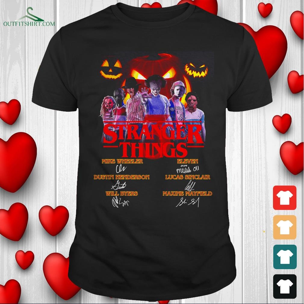 stranger things 3 horror movie characters signatures t shirt
