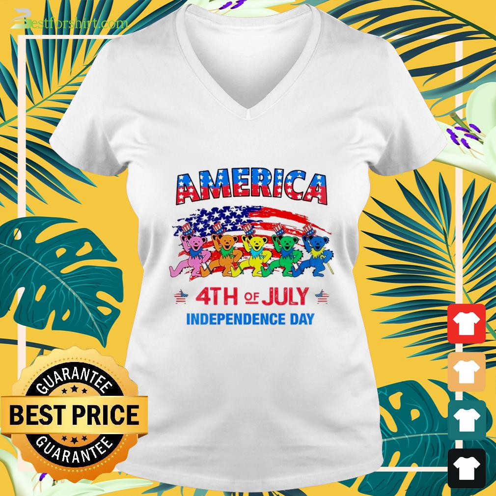America 4th of July Independence Day V neck t shirt