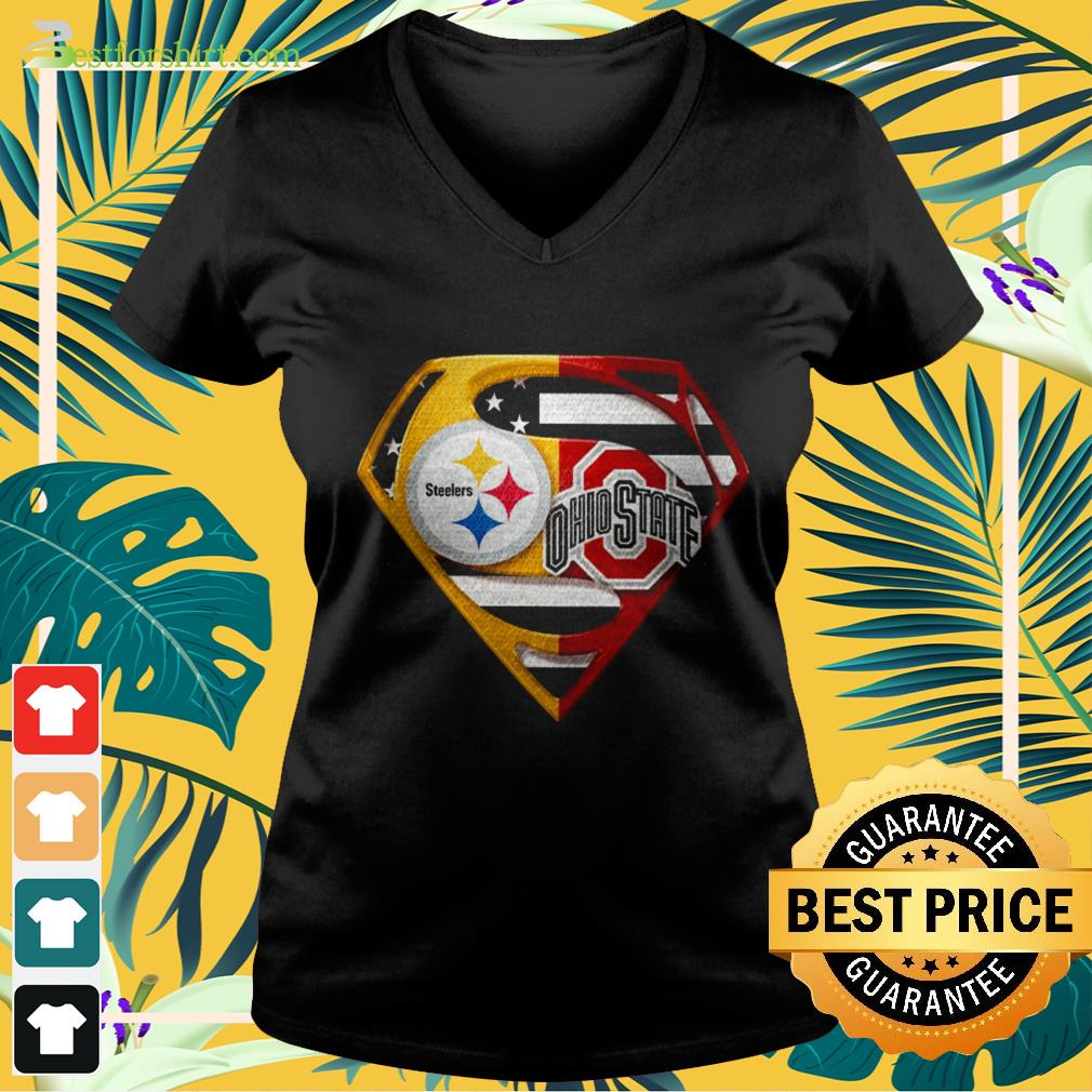 Superman Ohio State Buckeyes and Pittsburgh Steelers V neck t shirt