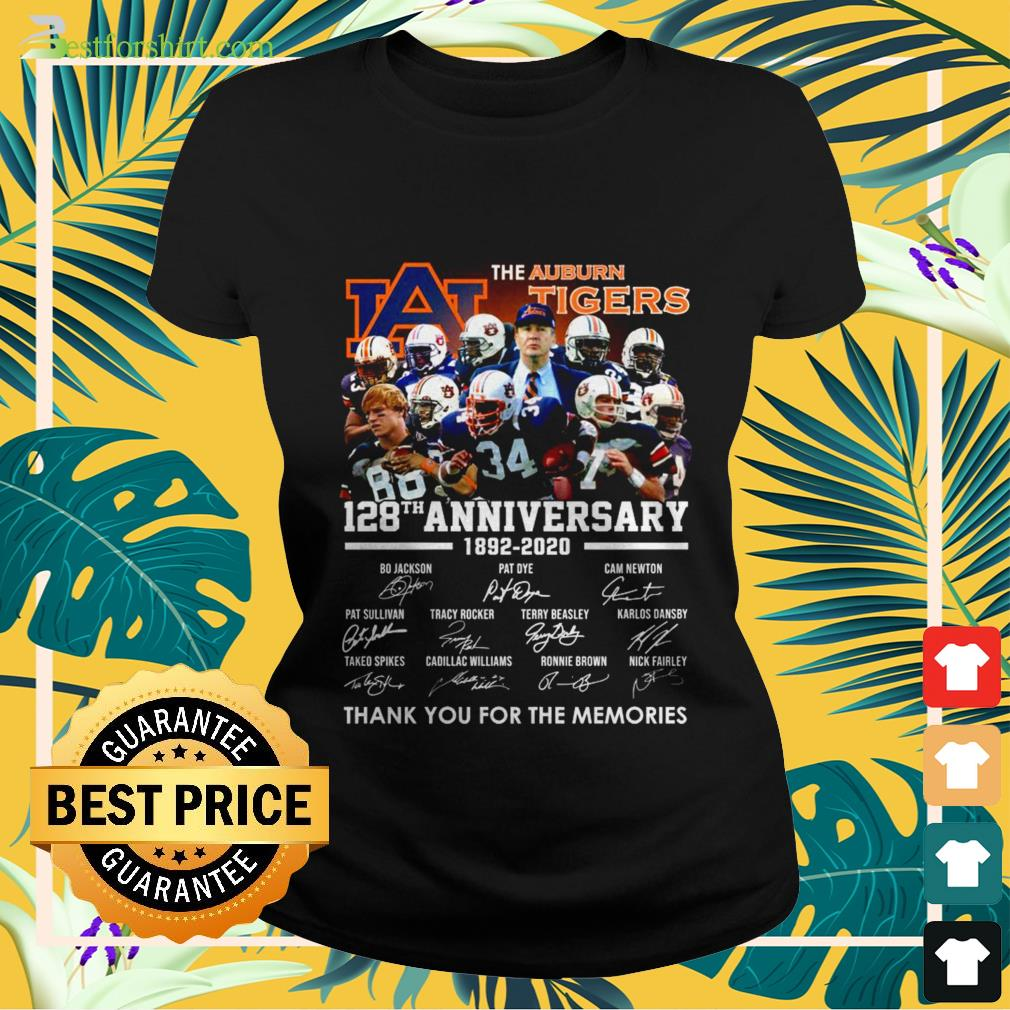 The Auburn Tigers 128th anniversary 1892 2020 signature thank you for the memories Ladies tee