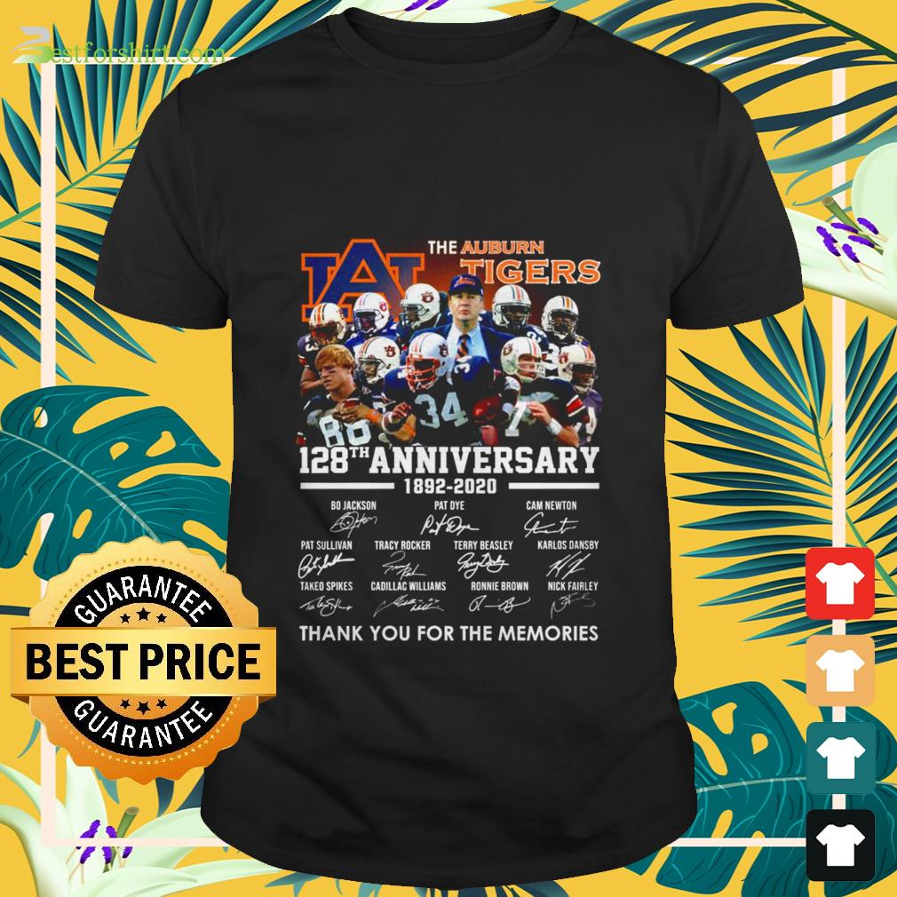 The Auburn Tigers 128th anniversary 1892 2020 signature thank you for the memories Shirt
