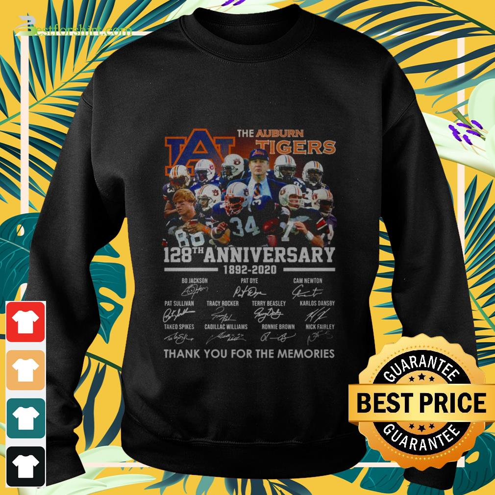 The Auburn Tigers 128th anniversary 1892 2020 signature thank you for the memories Sweater