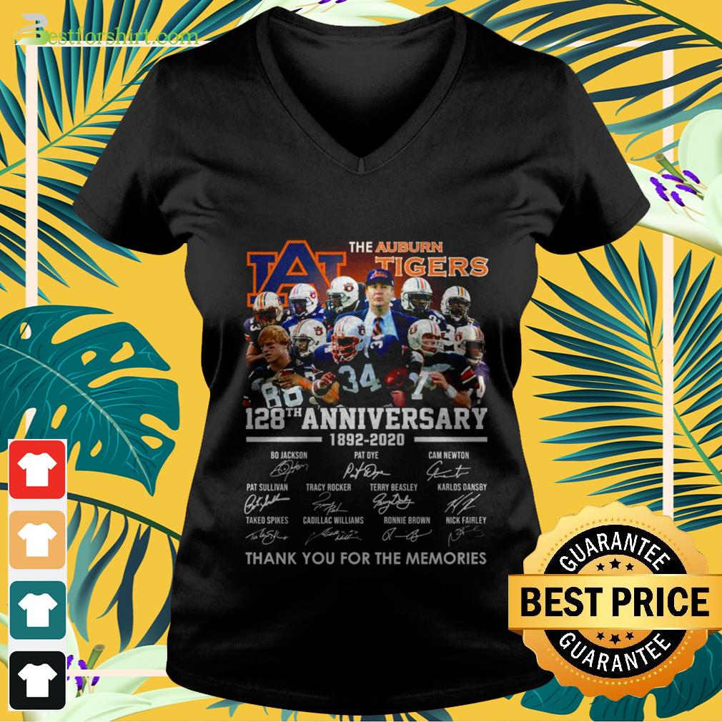 The Auburn Tigers 128th anniversary 1892 2020 signature thank you for the memories V neck t shirt
