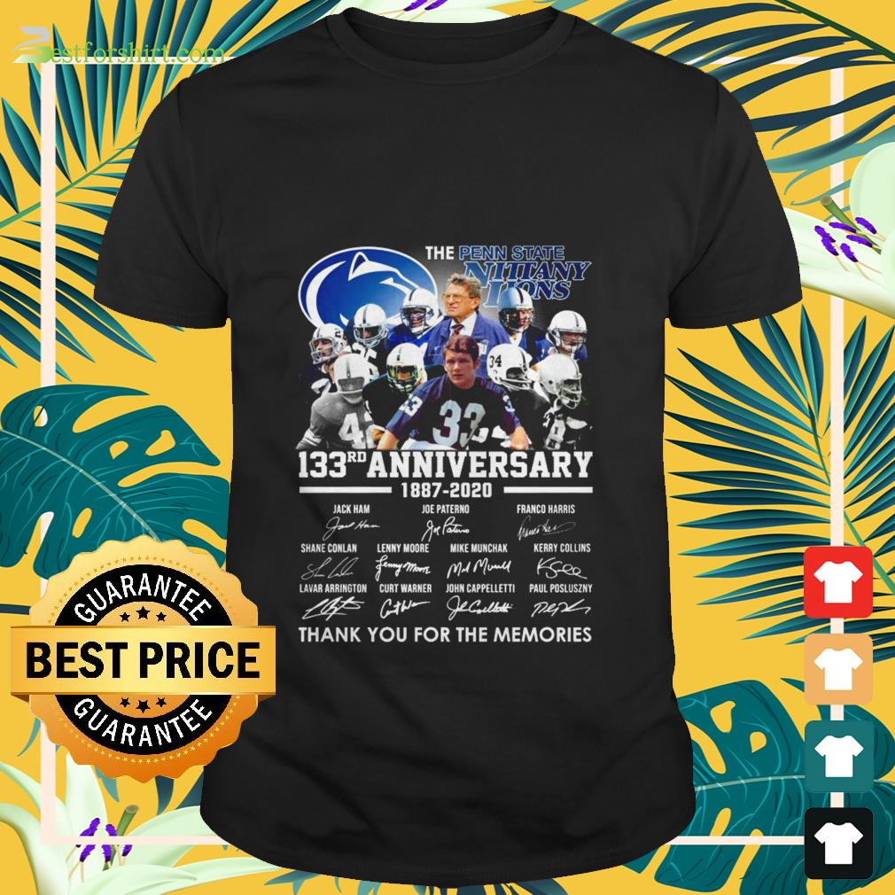 The Penn State 133th anniversary 1887 2020 signature thank you for the memories Shirt