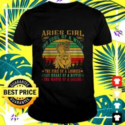 Aries girl the soul of a witch the fire of a lioness vintage t-shirt