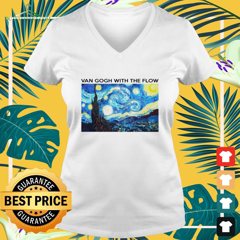 Van Gogh with the flow v-neck t-shirt