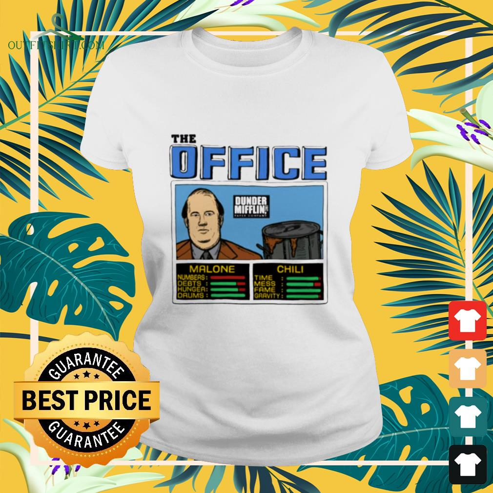 The office Kevin Malone and Chili Dunder Mifflin ladies-tee