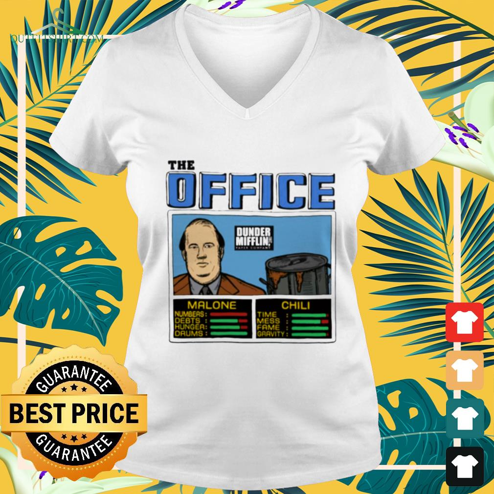 The office Kevin Malone and Chili Dunder Mifflin v-neck t-shirt